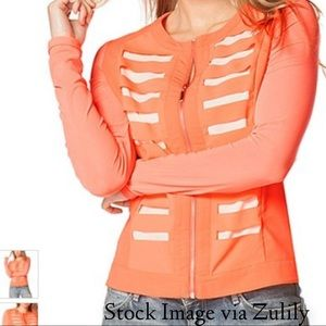 Coral Stripe Zip-Up Jacket